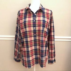 J Crew Boy Fit Plaid Popover Tunic XL Red Blue